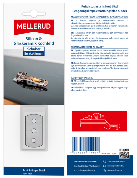 FISE-Silicon & Glas. K. Schaber Ersatz 5er Pack Ersatzklingen